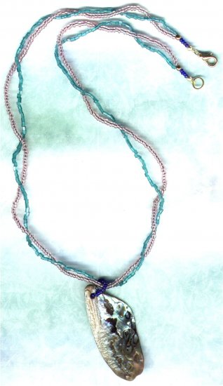 Pink & Sea Green Paua Shell Pendant Beaded Necklace - PreciousThings.ecrater.com