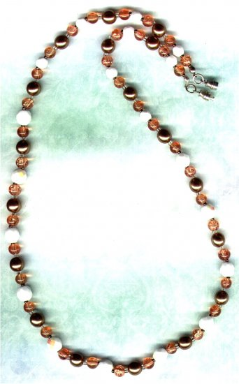 Copper Glass Pearl Beaded Necklace - PreciousThings.ecrater.com