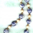 Chunky Chinese Porcelain and Wooden Beaded Necklace - PreciousThings.ecrater.com