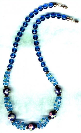 Handcrafted Aqua Porcelain and Swarovski Crystal Necklace - PreciousThings.ecrater.com