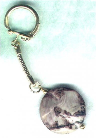 "Handmade Variegated Jasper Gemstone Keyring ""Down To Earth"" - PreciousThings.ecrater.com"