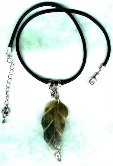 Blacklip Leaf Pendant and Beaded Necklace with Rubber Cord Choker - PreciousThings.ecrater.com