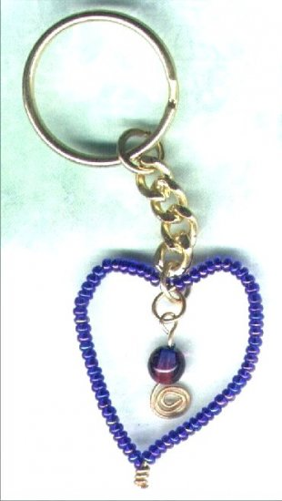 "Handcrafted Beaded Wired Heart Keyring ""Heart of Glass"" - PreciousThings.ecrater.com"