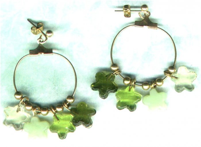 Handmade Green Star Charm Hoop Earrings - PreciousThings.ecrater.com