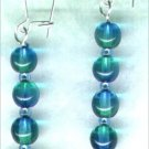 "Bicoloured Glass Dangle Beaded Earrings ""Teal & Emerald"" - PreciousThings.ecrater.com"