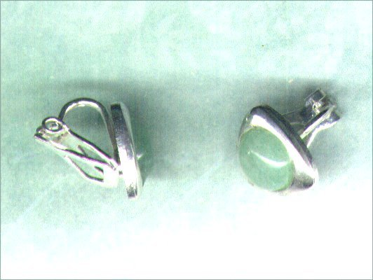 Green Aventurine Gemstone Clip-on Silverplated Triangular Earrings - PreciousThings.ecrater.com