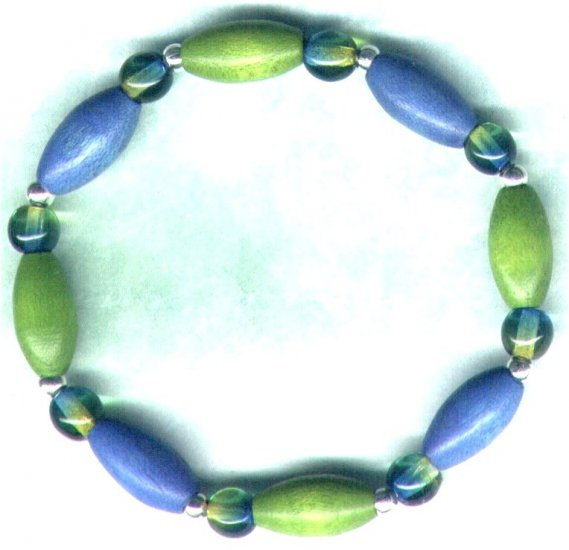 "Elasticated Wooden Beaded Bracelet ""Turquoise 'n' Lime"" Brights"" - PreciousThings.ecrater.com"