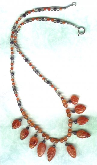 Handcrafted Carnelian Leaf Dangle Gemstone Beaded Necklace - PreciousThings.ecrater.com