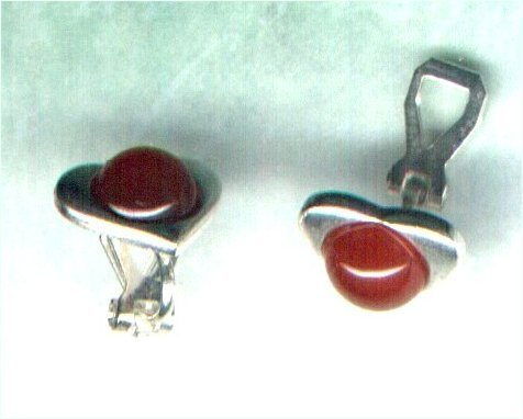Handmade Carnelian Gemstone Clip-on Heart Earrings - PreciousThings.ecrater.com