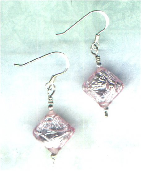 Silver-lined Pink Puff Diamond Glass Beaded Earrings - PreciousThings.ecrater.com