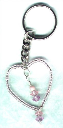 "Handcrafted Beaded Wired Heart Keyring ""Shimmering Pink"" - PreciousThings.ecrater.com"