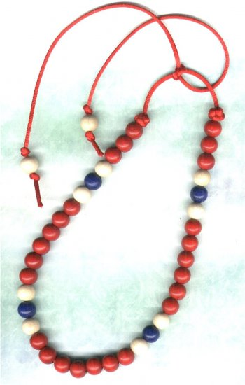 Handcrafted Tie-up Red, White 'n' Blue Wooden Beaded Necklace - PreciousThings.ecrater.com