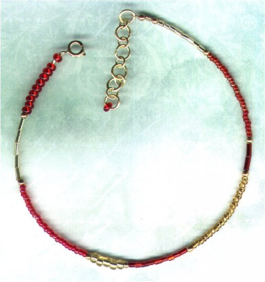 "Red and Gold Glass Patchwork Beaded Anklet ""Red Glitz"" - PreciousThings.ecrater.com"