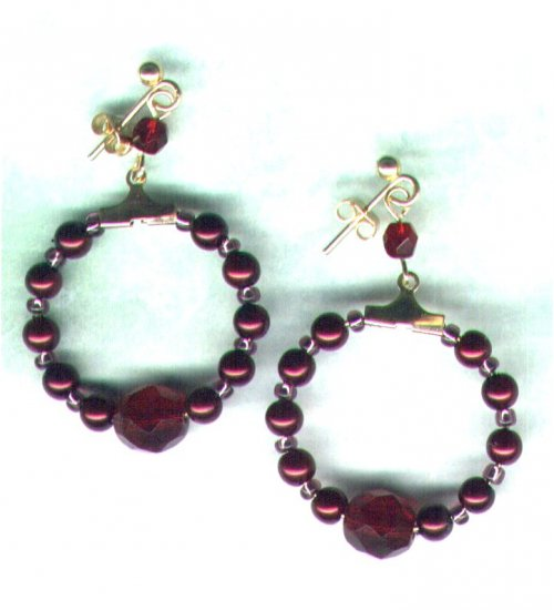 "Glass Pearl Beaded Hoop Earrings �Berry Nice"" - PreciousThings.ecrater.com"