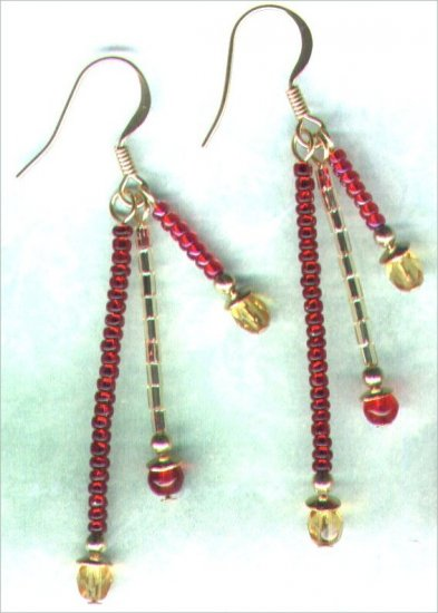 "Handmade Triple Dangle Beaded Earrings ""Christmas Glitz"" - PreciousThings.ecrater.com"
