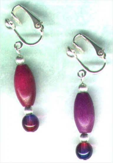 "Wooden Drop Clip-on Beaded Earrings ""Cerise 'n'  Purple Brights"" - PreciousThings.ecrater.com"