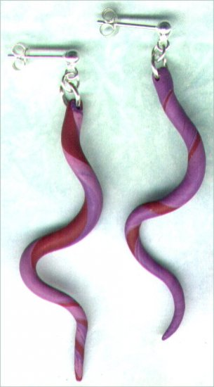 """Handcrafted Polymer Clay and Silver Drop Earrings """"Snake Twist"""" - PreciousThings.ecrater.com"""