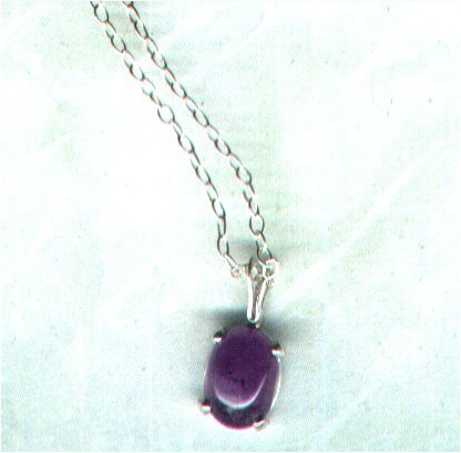 "Temporarily out of stock - Amethyst Cabochon Gemstone Pendant with 16"" Chain"