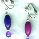 "Wooden Drop Clip-on Beaded Earrings ""Purple 'n' Blue Brights"" - PreciousThings.ecrater.com"