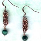 Copper Byzantine Chain Maille Handcrafted Earrings with Malachite - PreciousThings.ecrater.com