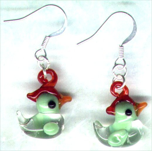 "Handmade Duck Charm Beaded Earrings ""Goin' Quackers"" - PreciousThings.ecrater.com"
