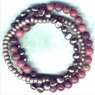"Rhodonite and Pearl Gemstone Beaded Bracelet Set ""Burning Rose"" - PreciousThings.ecrater.com"
