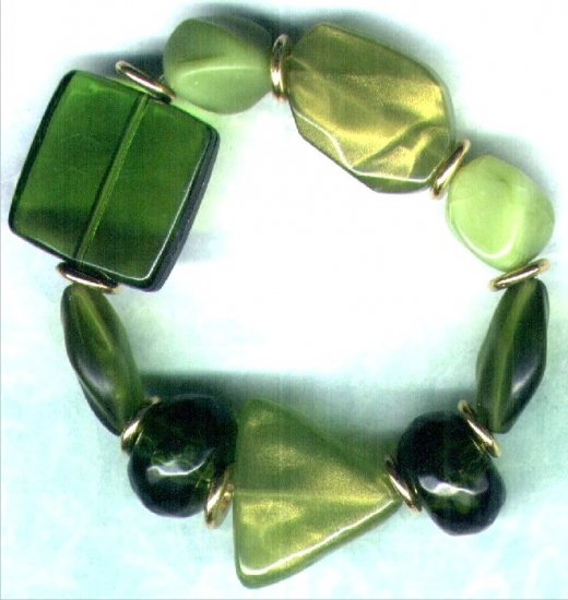 "Elasticated Chunky Beaded Bracelet ""Faux Jade"" - PreciousThings.ecrater.com"