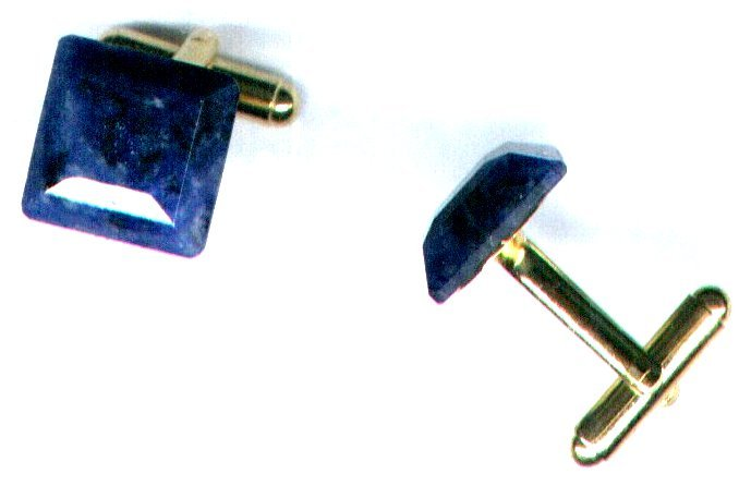 Men's Square Blue Quartz Gemstone Cufflinks - PreciousThings.ecrater.com