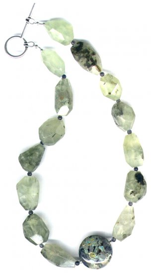 "Lampworked Glass and Prehnite Gemstone Beaded Necklace ""Green Tea"" - PreciousThings.ecrater.com"