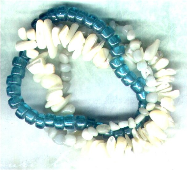 "Amazonite Gemstone Elasticated Beaded Bracelet set ""Sea Foam"" - PreciousThings.ecrater.com"