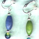 "Wooden Drop Clip-on Beaded Earrings ""Turquoise 'n' Lime Brights"" - PreciousThings.ecrater.com"