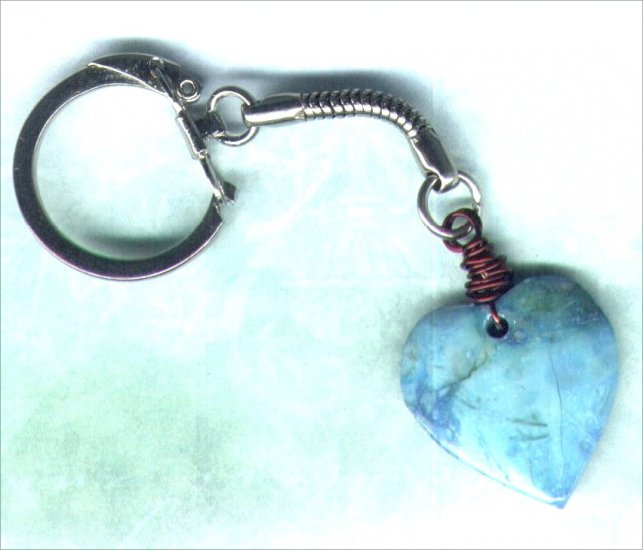 Handmade Turquoise Marbled Stone Heart Keyring - PreciousThings.ecrater.com