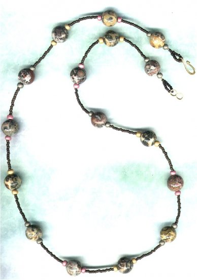 Leopardskin Rhyolite Gemstone Beaded Necklace  - PreciousThings.ecrater.com