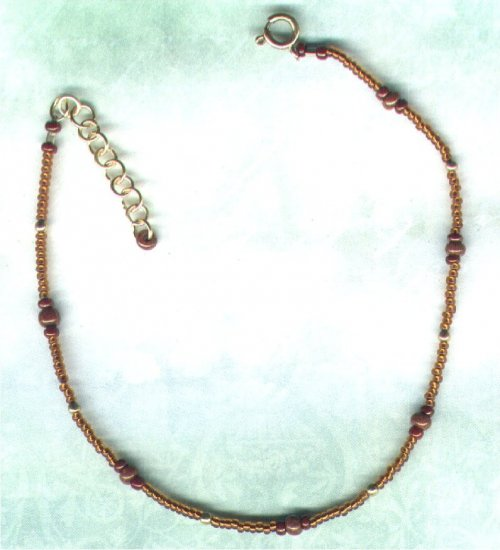 "Adjustable Handmade Glass Beaded Anklet ""Ginger Biscuit"" - PreciousThings.ecrater.com"