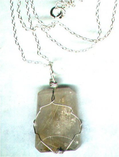 "Rutilated Quartz Gemstone Pendant with 16"" Chain - PreciousThings.ecrater.com"