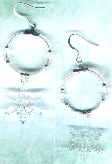 Glass Beaded Hoop and Acrylic Snowflake Dangle Earrings - PreciousThings.ecrater.com