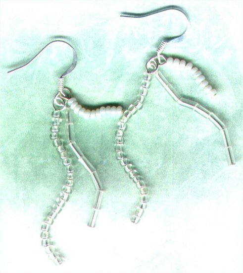 "Handmade Triple Dangle Beaded Earrings ""White Squiggle"" - PreciousThings.ecrater.com"