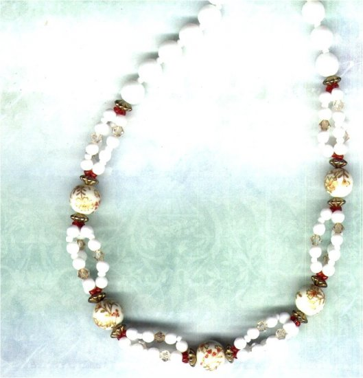 White Chinese Porcelain and Swarovski Crystal Beaded Necklace - PreciousThings.ecrater.com