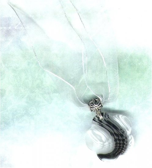 Adjustable White Organza Ribbon Necklace with Acrylic Daisy Pendant - PreciousThings.ecrater.com