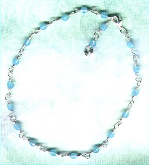 "Firepolished Crystal Beaded Chain Adjustable Anklet ""Aqua Opal"" - PreciousThings.ecrater.com"