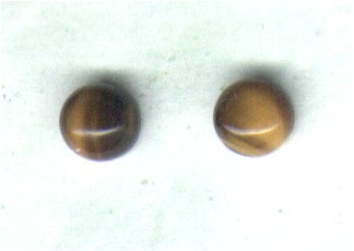 Golden Tigers Eye Gemstone & Sterling Silver 6mm Stud Earrings - PreciousThings.ecrater.com