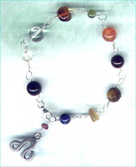 "Handcrafted Gemstone Bracelet with Zodiac Charm ""Leo"" - PreciousThings.ecrater.com"