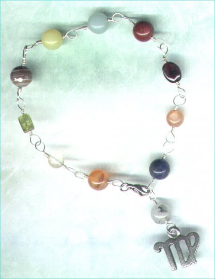 "Handcrafted Gemstone Bracelet with Zodiac Charm ""Virgo"" - PreciousThings.ecrater.com"