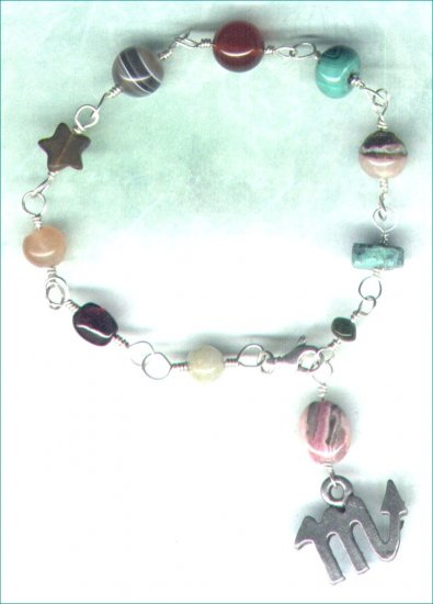 "Handcrafted Gemstone Bracelet with Zodiac Charm ""Scorpio"" - PreciousThings.ecrater.com"