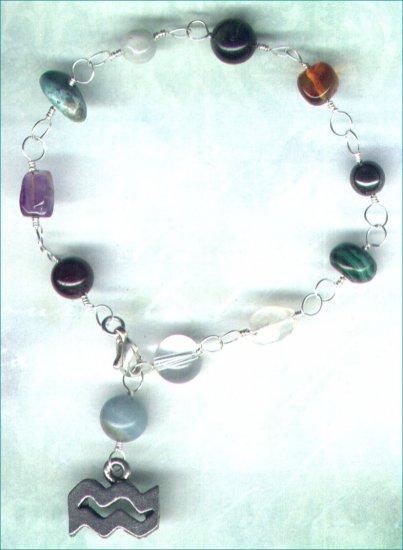 "Handcrafted Gemstone Bracelet with Zodiac Charm ""Aquarius"" - PreciousThings.ecrater.com"