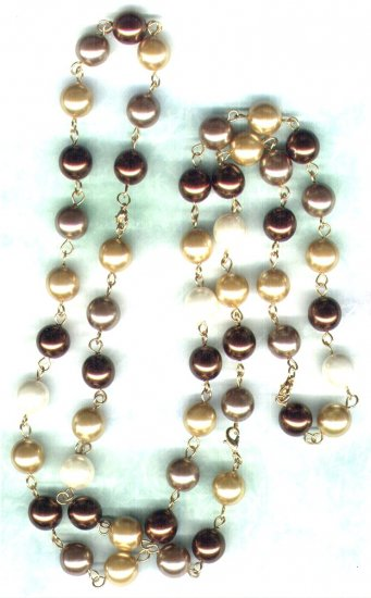 Brown/Cream/Gold Glass Pearl Adjustable Necklace - PreciousThings.ecrater.com