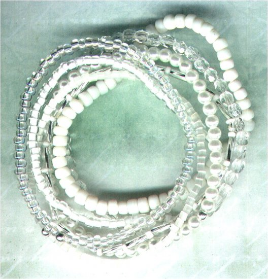 "Beaded Elasticated Bracelet Nest ""The Whites"" - PreciousThings.ecrater.com"