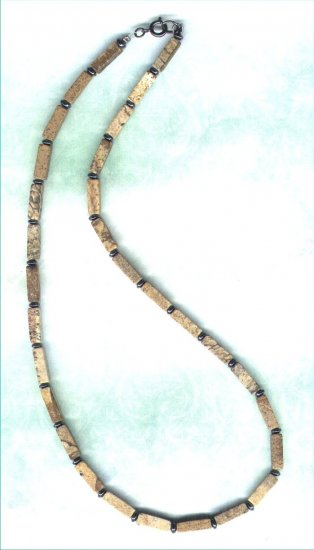 Men's Picture Jasper and Hematite Gemstone Necklace - PreciousThings.ecrater.com