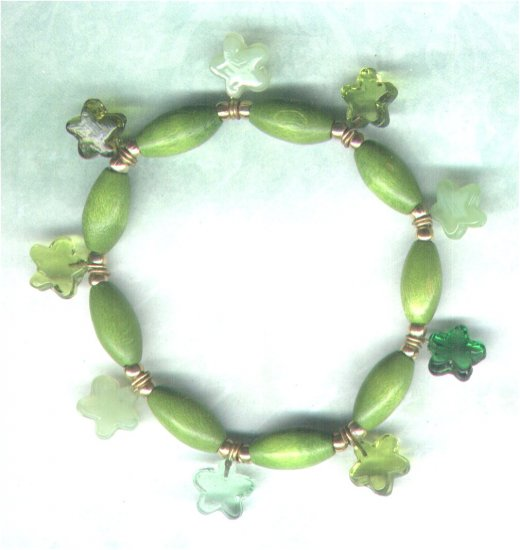 Lime Green Wooden Beaded Elasticated Bracelet  - PreciousThings.ecrater.com