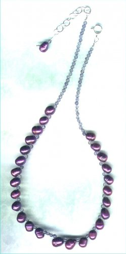 "Freshwater Pearl and Iolite Necklace ""Elderberry"""